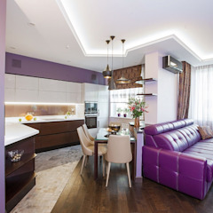 Alena Gorskaya Design Studio Salle à manger minimaliste Violet