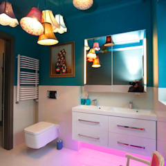livinghome wnętrza Katarzyna Sybilska Modern style bathrooms Stone Multicolored