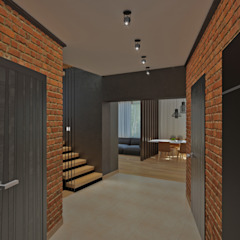 YES-designs Industrial style corridor, hallway and stairs
