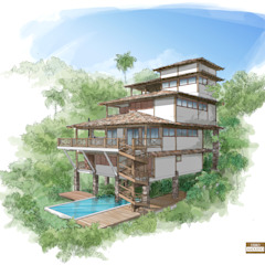 Casas de estilo rústico de MADUEÑO ARQUITETURA & ENGENHARIA Rústico Madera Acabado en madera