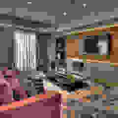 Pauline Kubiak Arquitetura Modern living room Marble Multicolored