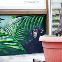 Tropical style garage/shed by Wandgestaltung Graffiti Airbrush von Appolloart Tropical Tiles