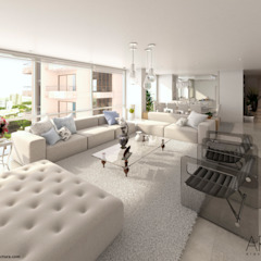 Proyecto de viviendas de lujo - Morano Mare Salas modernas de Area5 arquitectura SAS Moderno