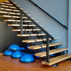Bau-Art Taller de Arquitectura Modern corridor, hallway & stairs Wood Black