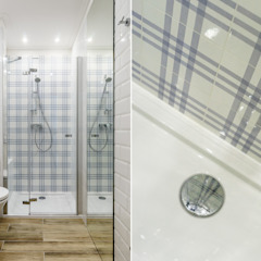 MIESZKANIE WAKACYJNE STYL PROWANSALSKI – AVIATOR – GDAŃSK Śródziemnomorska łazienka od Anna Serafin Architektura Wnętrz Śródziemnomorski