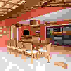 Veja o resultado da reforma da área externa dessa residência com área gourmet + cozinha! Varandas, alpendres e terraços rústicos por Andréa Spelzon Interiores Rústico