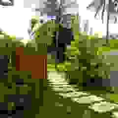 Tropical style gardens by Tânia Póvoa Arquitetura e Decoração Tropical Engineered Wood Transparent