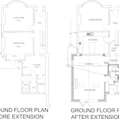 Before and After Floor Plans - Timber Frame Extension Boston Lincolnshire by JMAD Architecture (previously known as Jenny McIntee Architectural Design)