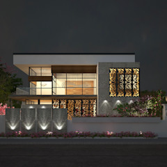 EXTERIOR NIGHT VIEW Classic style houses by De Panache - Interior Architects Classic Concrete