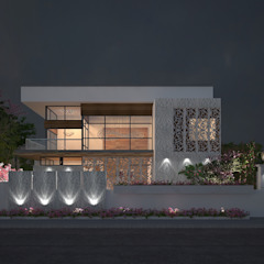 EXTERIOR NIGHT VIEW Modern houses by De Panache - Interior Architects Modern Concrete