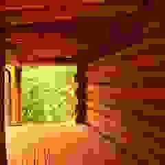 Dom z bali z zielonym dachem Rustykalny balkon, taras i weranda od Organica Design & Build Rustykalny Drewno O efekcie drewna