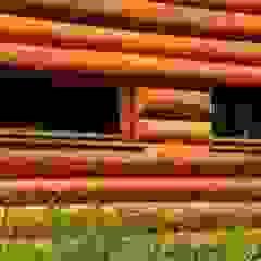 Dom z bali z zielonym dachem Rustykalne domy od Organica Design & Build Rustykalny Drewno O efekcie drewna