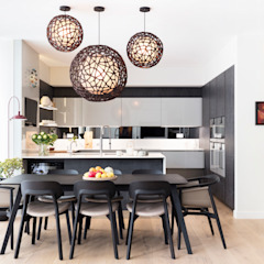 Modern New Home in Hampstead - Dining Area Black and Milk   Interior Design   London Dining roomTables