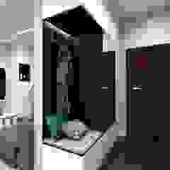 Minimalistyczne wnętrze z przewagą bieli i czerni Minimalistyczny korytarz, przedpokój i schody od MONOstudio Minimalistyczny