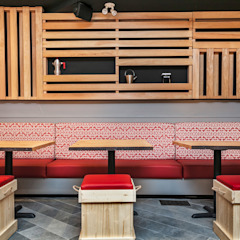 Bench seating area Alice D'Andrea Design Industrial style bars & clubs Wood Red