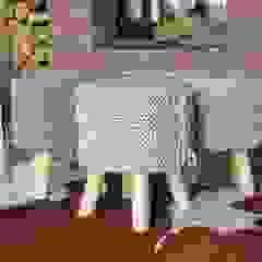 Stołek z siedziskiem ze sznurka. Rustykalny salon od Manufaktura pracownia artystyczna Rustykalny