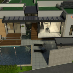 Perspectiva aérea - areas comunes, zona humeda Casas modernas de Arquitecto Pablo Restrepo Moderno