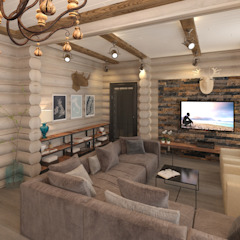 Rustic style living room by atmosvera Rustic Wood Wood effect
