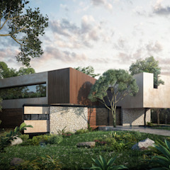 CARCO Arquitectura y Construccion Modern houses Solid Wood Beige
