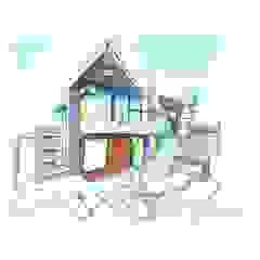 Vista Frontal sur/este a mano alzada. Vivienda V12. Casas de estilo escandinavo de Eisen Arquitecto Escandinavo Concreto
