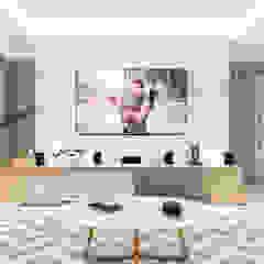 Duplex 50 tons de bege! Salas multimídia minimalistas por Karinna Buchalla Interiores Minimalista MDF