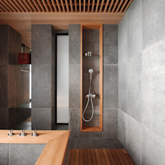 Asian style bathroom by 直方設計有限公司 Asian Solid Wood Multicolored