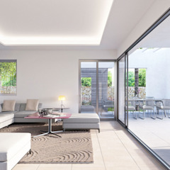 Villa Chloe - New Build Moraira Mediterranean style living room by Blue Square Real Estate Mediterranean Ceramic