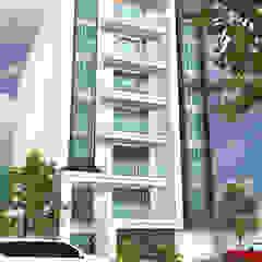 Fachada principal, acceso peatonal y acceso a parqueaderos Casas modernas de Project arquitectura s.a.s Moderno