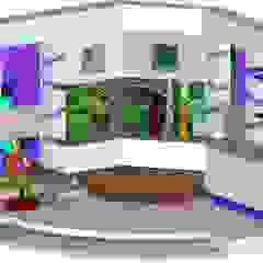 Decorado en estudio para programa de farandula Salas de entretenimiento de estilo moderno de ERGOARQUITECTURAS FL C.A. Moderno Derivados de madera Transparente