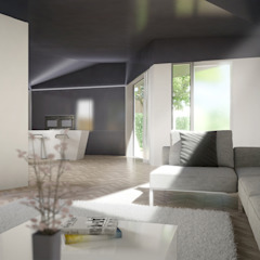 Open plan living room and kitchen in contemporary retirement property ArchitectureLIVE