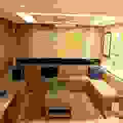 Apartamento SM - área social Jardins de inverno minimalistas por E+D Arquitetura Minimalista Madeira Efeito de madeira