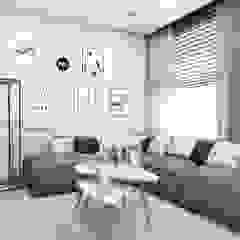 Projekt mieszkania w klimacie skandynawskim w województwie podlaskim Skandynawski salon od MONOstudio Skandynawski