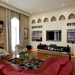 Large Living Mediterranean style media rooms by Design Zone Mediterranean Engineered Wood Transparent