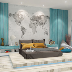 """BEACH"" concept for kids bedroom Kamar Tidur Gaya Country Oleh AIRE INTERIOR Country Kayu Buatan Transparent"