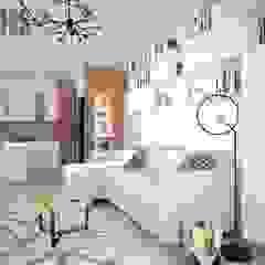 Miejsce na książki w salonie Skandynawski salon od OES architekci Skandynawski Cegły