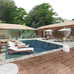 Pousada Santa Thereza por Whill Barros Arquitetura e Design Tropical Cerâmica