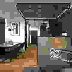 Połączenie stylu industrialnego i skandynawskiego Industrialny salon od MONOstudio Industrialny