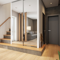 House in Tomsk ห้องโถงทางเดินและบันไดสมัยใหม่ โดย EVGENY BELYAEV DESIGN โมเดิร์น