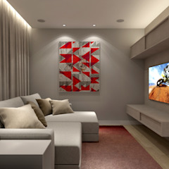 APARTAMENTO BURITIS | BELO HORIZONTE - MG Salas multimídia minimalistas por RAFE Arquitetura e Design Minimalista