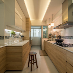 Design & Build: New HDB @ Sumang Link (Eclectic) Eclectic style kitchen by erstudio Pte Ltd Eclectic