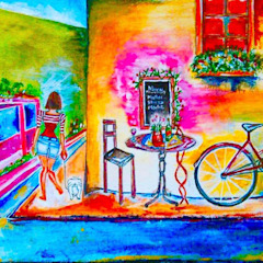 The Cafe Bicycle: asian  by Indian Art Ideas,Asian