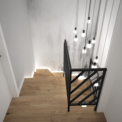 OES architekci Ingresso, Corridoio & Scale in stile minimalista Legno massello Bianco