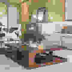 Projeto de interiores cria ambiente clean e contemporâneo na praia Salas de estar modernas por PROCAVE Moderno Madeira Efeito de madeira