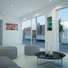 """Edificio """"Parque Prada"""" Balcones y terrazas minimalistas de Estudio Allan Cornejo Arquitecto Minimalista Cerámico"""