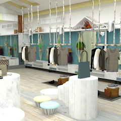 China - Shop Interior Design Yunhee Choe Industrial style dressing room Wood Blue