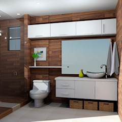 baños modernos Baños de estilo moderno de Omar Interior Designer Empresa de Diseño Interior, remodelacion, Cocinas integrales, Decoración Moderno Cerámico