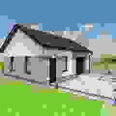 Projekt elewacji wraz z otoczeniem, ogrodzeniem i budynkiem garażu. Nowoczesny garaż od AKAart Pracownia Projektowa Nowoczesny