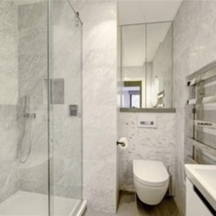 St James' central London Suzanne Tucker Interiors Modern Bathroom Marble Grey
