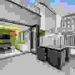 St James' central London Suzanne Tucker Interiors Modern Terrace Tiles Grey