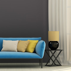 Black Wall Painting Modern living room by PaintGuru.ae Modern